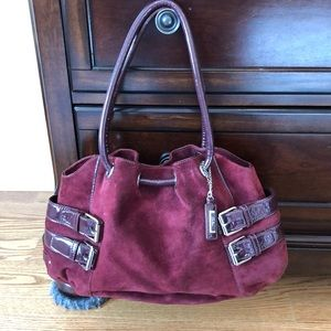 Cole Haan suede bag with patent accents